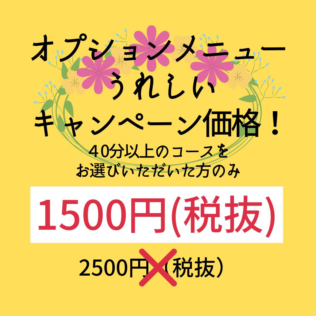 うれしいキャンペーン価格2500円(税抜)が1500円(税抜)